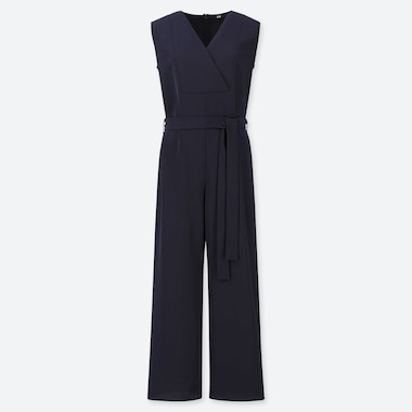 WOMEN DRAPE V NECK SLEEVELESS JUMPSUIT