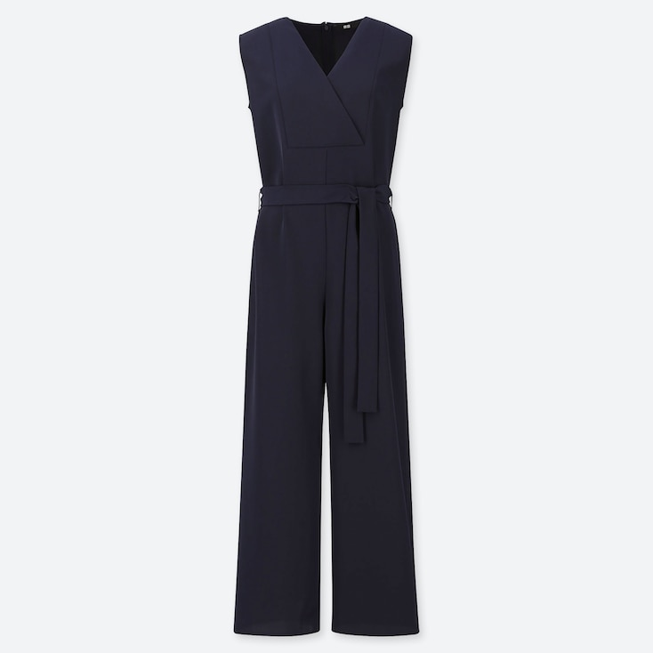 WOMEN DRAPE JUMPSUIT, NAVY, large