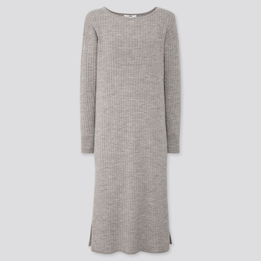 WOMEN MERINO-BLEND BOAT NECK LONG-SLEEVE DRESS, GRAY, medium