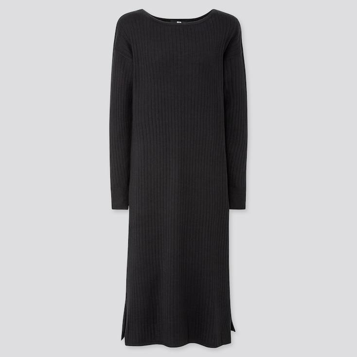 WOMEN MERINO-BLEND BOAT NECK LONG-SLEEVE DRESS, BLACK, large