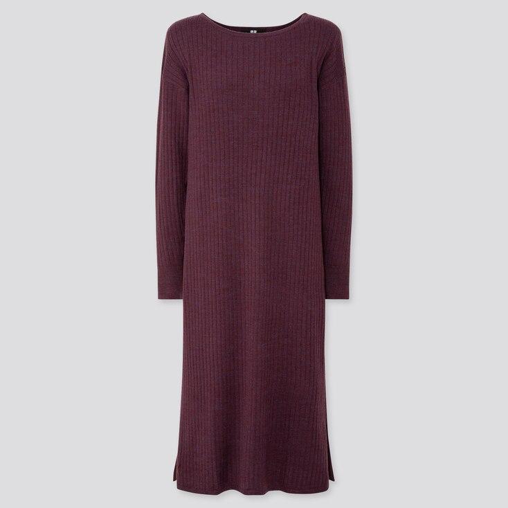 WOMEN MERINO-BLEND BOAT NECK LONG-SLEEVE DRESS, WINE, large