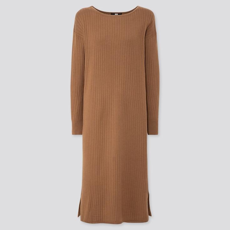 WOMEN MERINO-BLEND BOAT NECK LONG-SLEEVE DRESS, BROWN, large