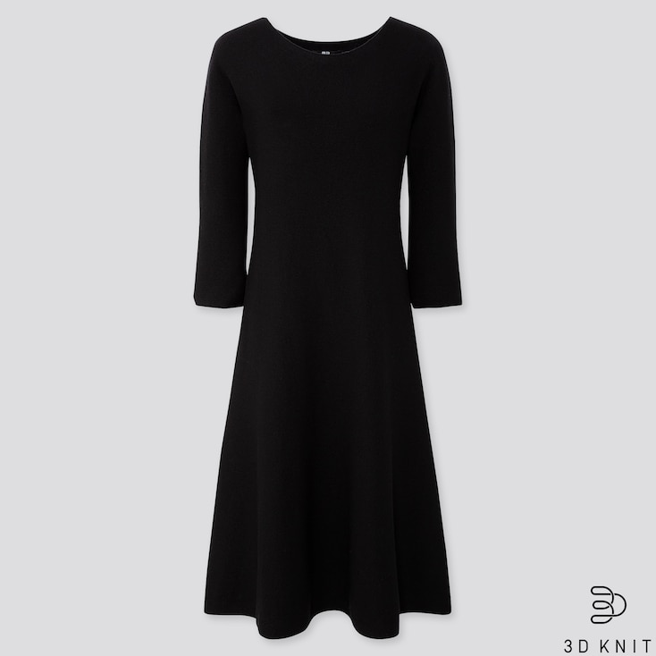 WOMEN 3D EXTRA FINE MERINO CREW NECK FLARE DRESS, BLACK, large