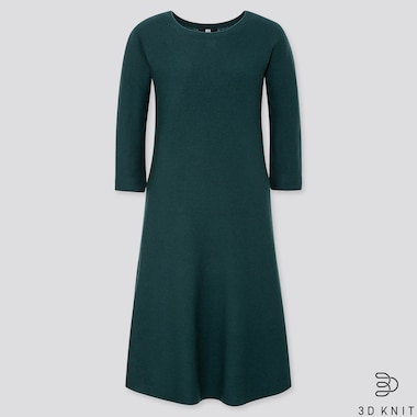 WOMEN 3D EXTRA FINE MERINO CREW NECK FLARE DRESS, DARK GREEN, medium
