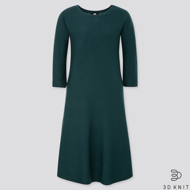 WOMEN 3D EXTRA FINE MERINO CREW NECK FLARE DRESS, DARK GREEN, large