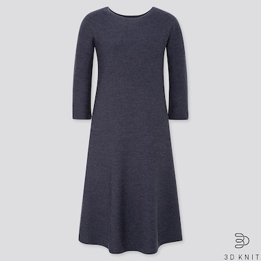 WOMEN 3D KNIT EXTRA FINE MERINO CREW NECK FLARED DRESS