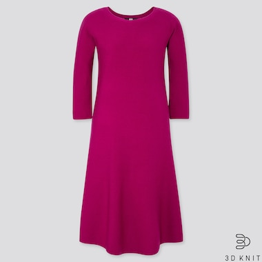 WOMEN 3D EXTRA FINE MERINO CREW NECK FLARE DRESS, PURPLE, medium