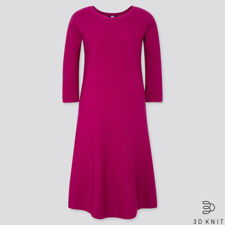 WOMEN 3D EXTRA FINE MERINO CREW NECK FLARE DRESS, PURPLE, large