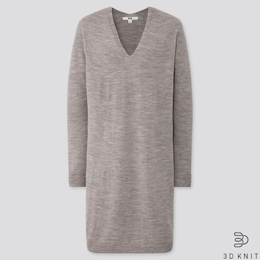 WOMEN 3D EXTRA FINE MERINO COCOON SILHOUETTE DRESS, GRAY, medium