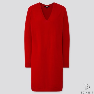 WOMEN 3D EXTRA FINE MERINO COCOON SILHOUETTE DRESS, RED, medium