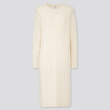 WOMEN CABLE KNIT LONG-SLEEVE DRESS, OFF WHITE, medium