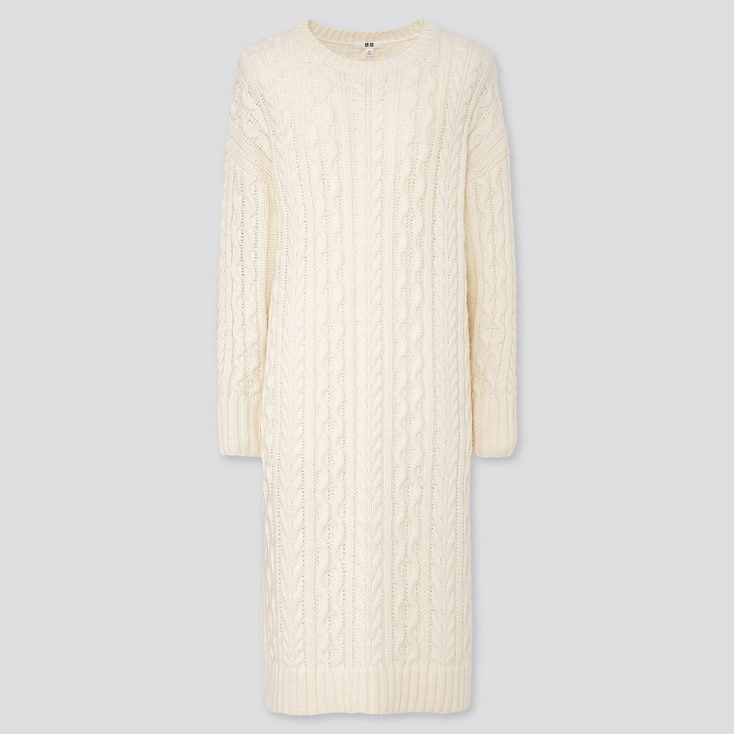 WOMEN CABLE KNIT LONG-SLEEVE DRESS, OFF WHITE, large