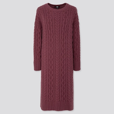 WOMEN CABLE KNIT LONG-SLEEVE DRESS, WINE, medium