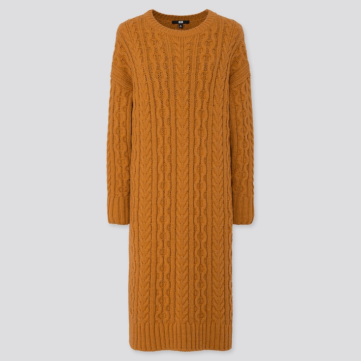 WOMEN CABLE KNIT LONG-SLEEVE DRESS, YELLOW, large
