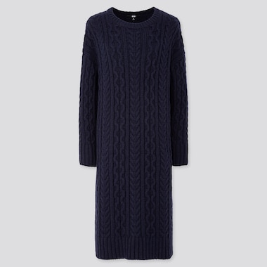 WOMEN CABLE KNIT LONG-SLEEVE DRESS, NAVY, medium