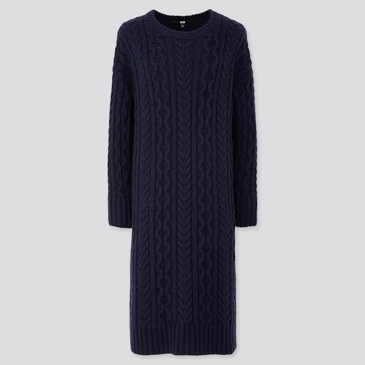 WOMEN CABLE KNIT LONG-SLEEVE DRESS, NAVY, large