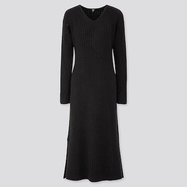 WOMEN WIDE-RIBBED V-NECK KNIT LONG DRESS, BLACK, medium