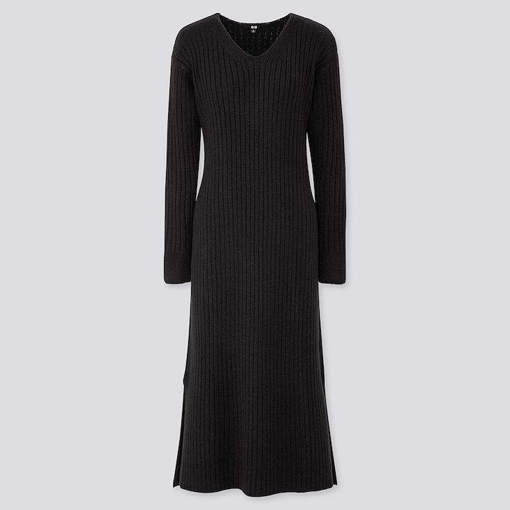 WOMEN WIDE-RIBBED V-NECK KNIT LONG DRESS, BLACK, large