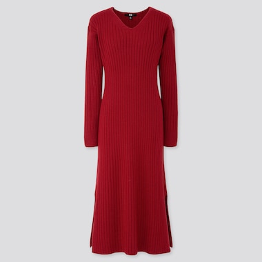 WOMEN WIDE-RIBBED V-NECK KNIT LONG DRESS, RED, medium