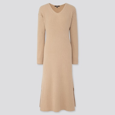 WOMEN WIDE-RIBBED V-NECK KNIT LONG DRESS, NATURAL, medium