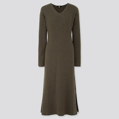 WOMEN WIDE-RIBBED V-NECK KNIT LONG DRESS, OLIVE, medium