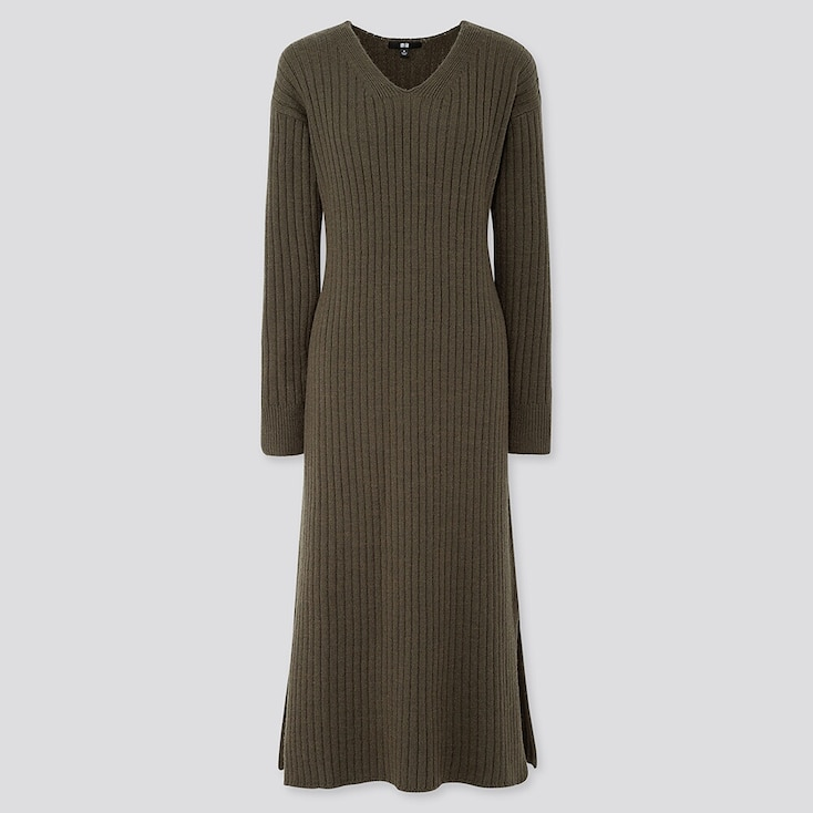 WOMEN WIDE-RIBBED V-NECK KNIT LONG DRESS, OLIVE, large