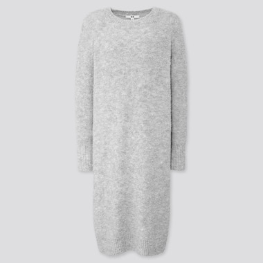 WOMEN BOUCLE KNIT LONG-SLEEVE DRESS, LIGHT GRAY, medium