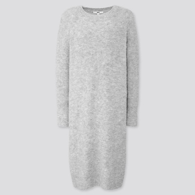 Women BouclÉ Knit Long Sleeved Dress  (2) by Uniqlo