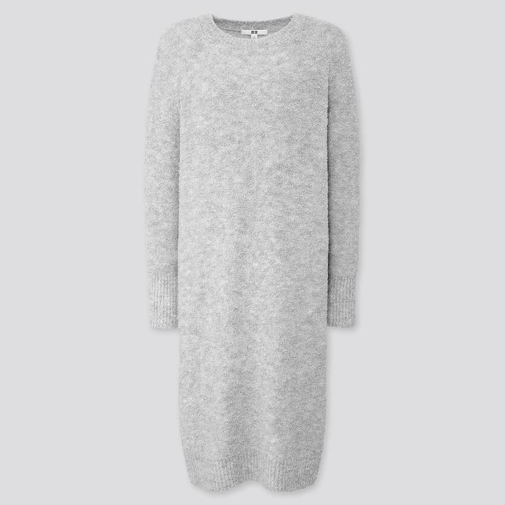 WOMEN BOUCLE KNIT LONG-SLEEVE DRESS, LIGHT GRAY, large