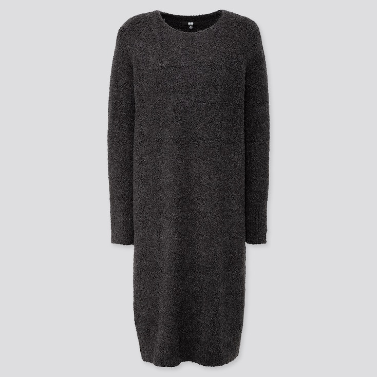 WOMEN BOUCLE KNIT LONG-SLEEVE DRESS, DARK GRAY, large