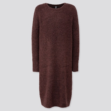 WOMEN BOUCLE KNIT LONG-SLEEVE DRESS, WINE, medium