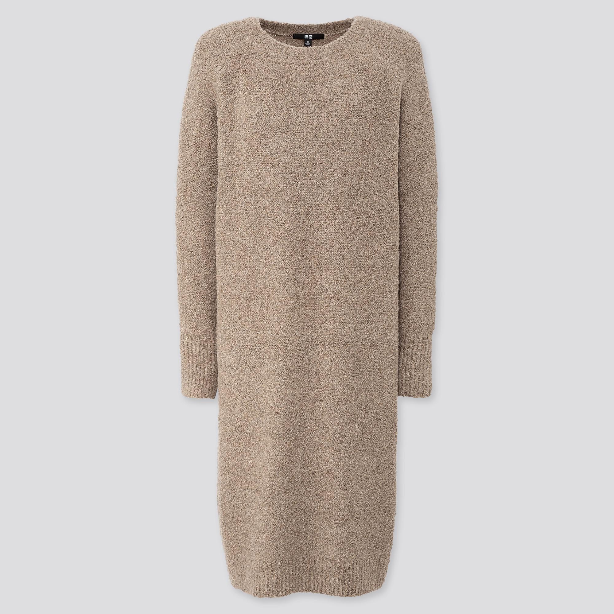 WOMEN BOUCLE KNIT LONG-SLEEVE DRESS