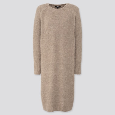 WOMEN BOUCLE KNIT LONG-SLEEVE DRESS, NATURAL, medium