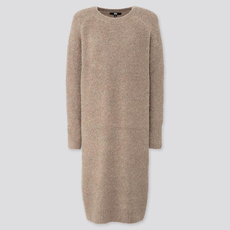 WOMEN BOUCLE KNIT LONG-SLEEVE DRESS, NATURAL, large