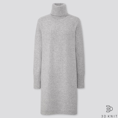 WOMEN 3D PREMIUM LAMBSWOOL TURTLENECK DRESS, LIGHT GRAY, medium