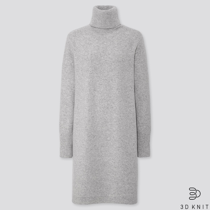 WOMEN 3D PREMIUM LAMBSWOOL TURTLENECK DRESS, LIGHT GRAY, large