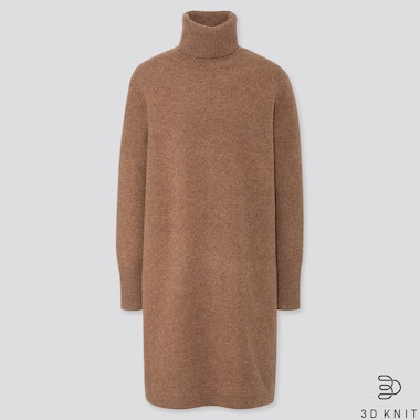 WOMEN 3D KNIT PREMIUM LAMBSWOOL TURTLENECK LONG SLEEVED DRESS (REGULAR)