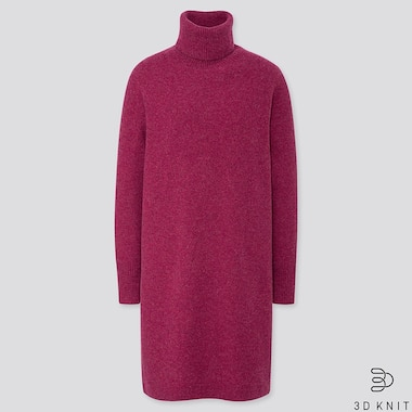 WOMEN 3D PREMIUM LAMBSWOOL TURTLENECK DRESS, PURPLE, medium