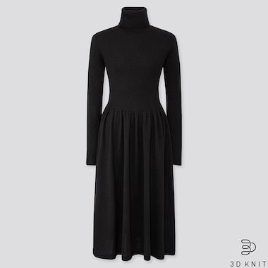 WOMEN 3D EXTRA FINE MERINO RIBBED TURTLENECK DRESS, BLACK, medium