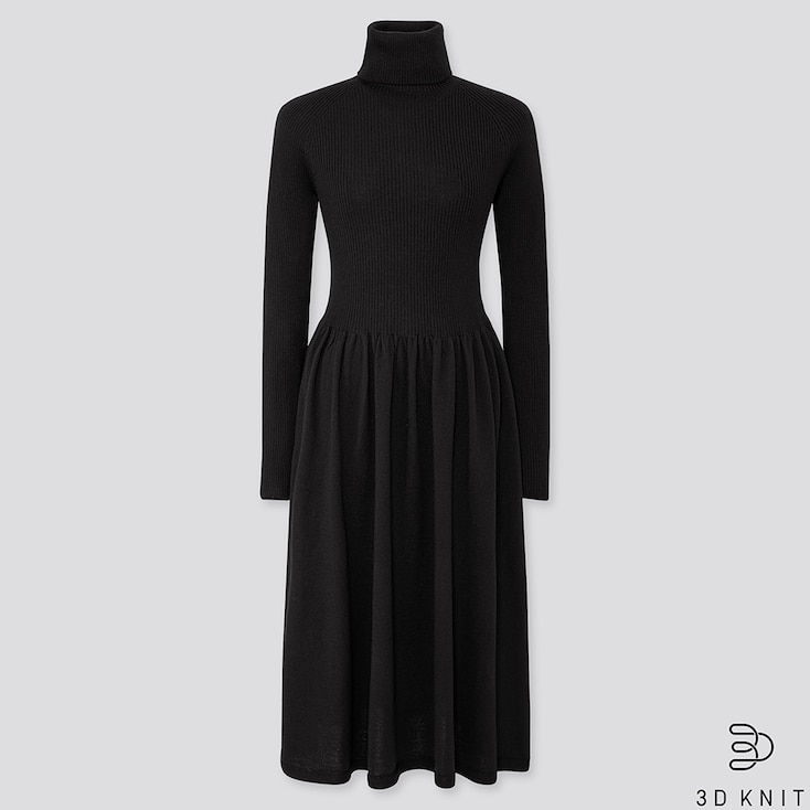 WOMEN 3D EXTRA FINE MERINO RIBBED TURTLENECK DRESS, BLACK, large