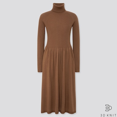 WOMEN 3D EXTRA FINE MERINO RIBBED TURTLENECK DRESS, BROWN, medium