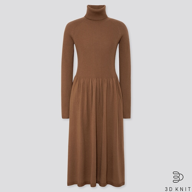 WOMEN 3D EXTRA FINE MERINO RIBBED TURTLENECK DRESS, BROWN, large