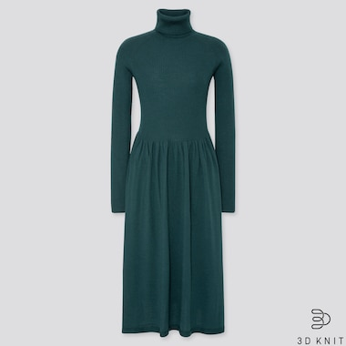 WOMEN 3D EXTRA FINE MERINO RIBBED TURTLENECK DRESS, DARK GREEN, medium