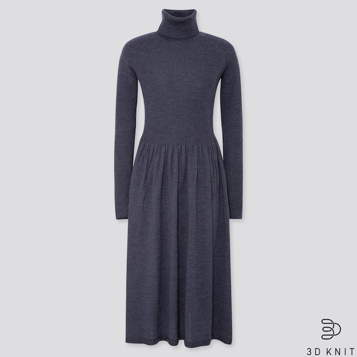 WOMEN 3D EXTRA FINE MERINO RIBBED TURTLENECK DRESS, BLUE, large