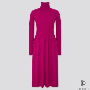 WOMEN 3D EXTRA FINE MERINO RIBBED TURTLENECK DRESS, PURPLE, medium