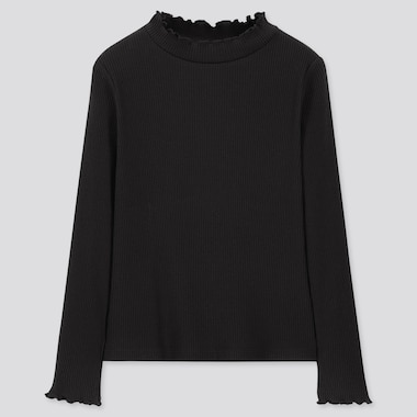 GIRLS RIBBED FRILL HIGH-NECK LONG-SLEEVE T-SHIRT, BLACK, medium