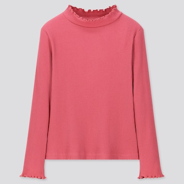 GIRLS RIBBED FRILL HIGH-NECK LONG-SLEEVE T-SHIRT, PINK, medium