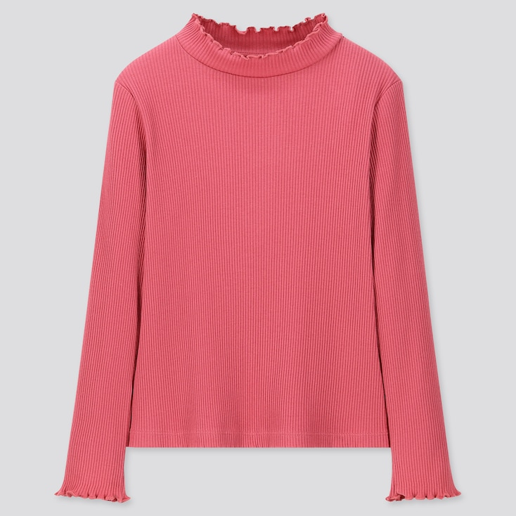 GIRLS RIBBED FRILL HIGH-NECK LONG-SLEEVE T-SHIRT, PINK, large