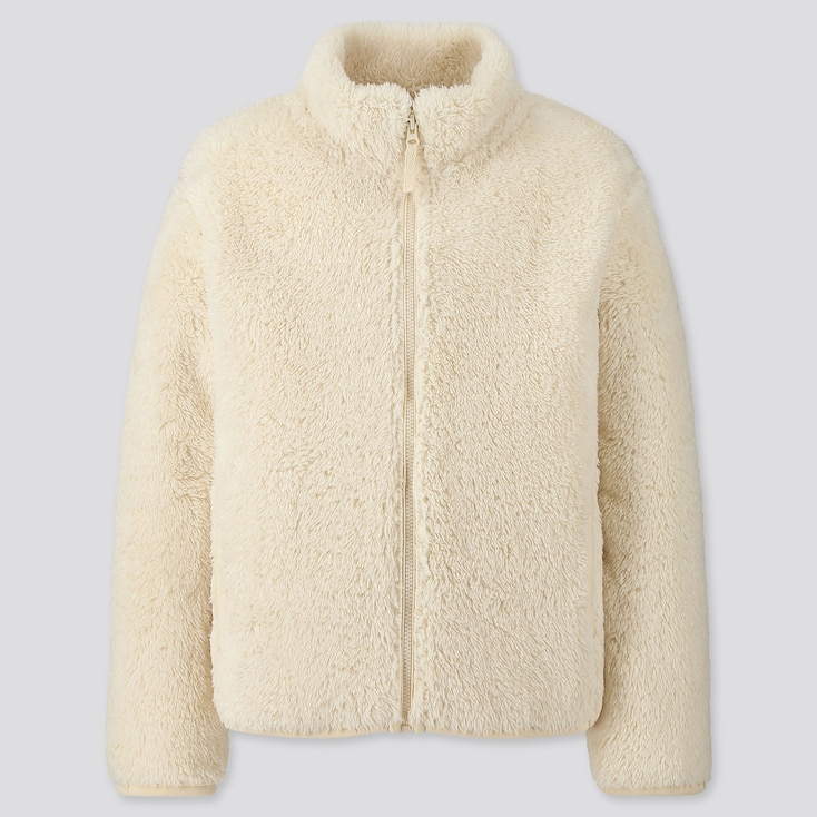 Kids Fluffy Yarn Fleece Long-Sleeve Jacket, Off White, Large