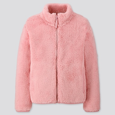 KIDS FLUFFY YARN FLEECE LONG-SLEEVE JACKET, PINK, medium